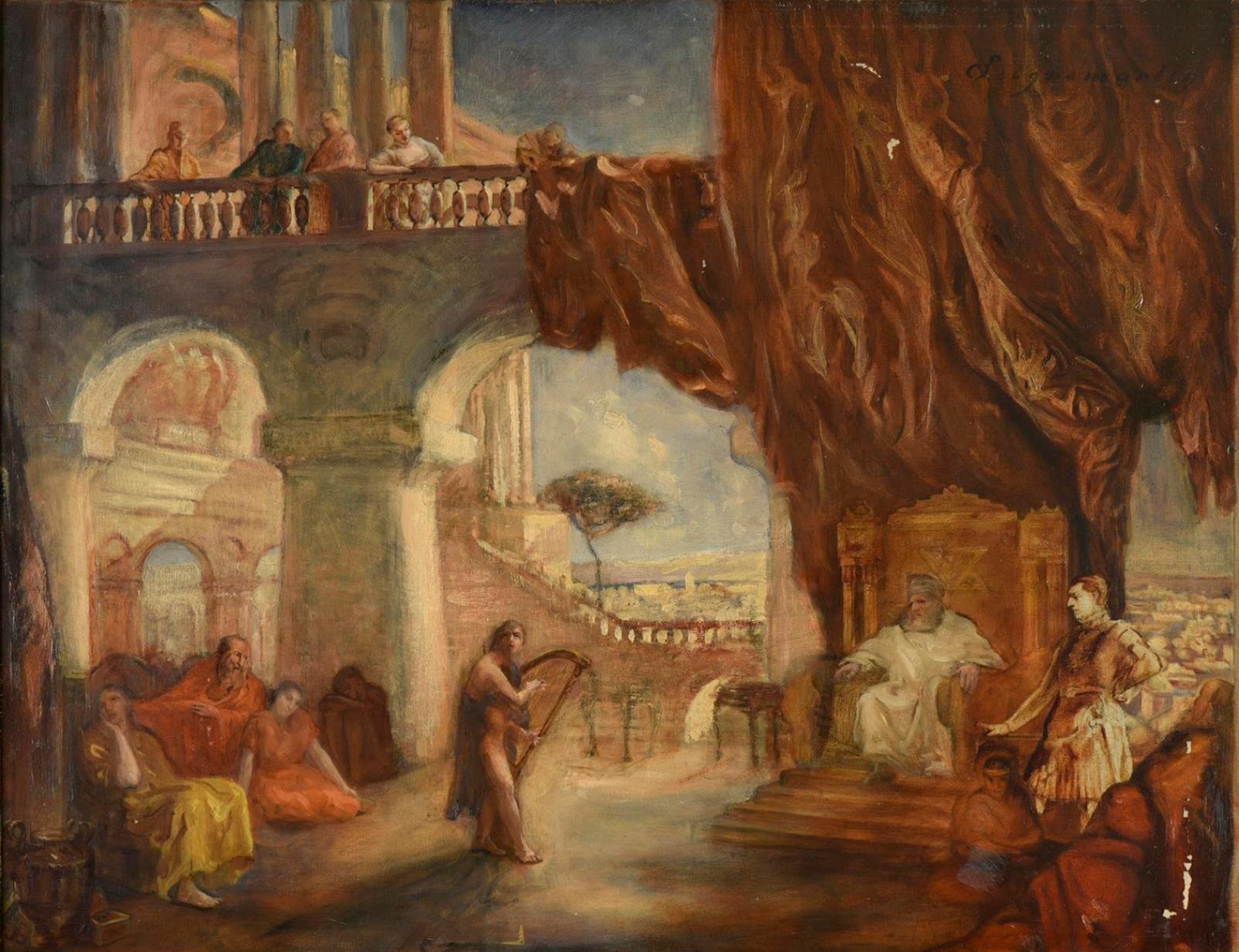 1500€ Jean Seignemartin(1848-1875), David jouant de la harpe devant le roi Saül, huile sur toile, 63x81cm. Lyon, 19juin 2018.De Bae