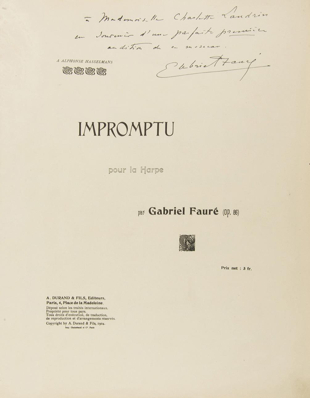 569€ Gabriel Fauré(1845-1924), Impromptu pour la harpe,1904, A.Durand et fils,Paris, première édition.Drouot, 20juin 2018. AderOVV.