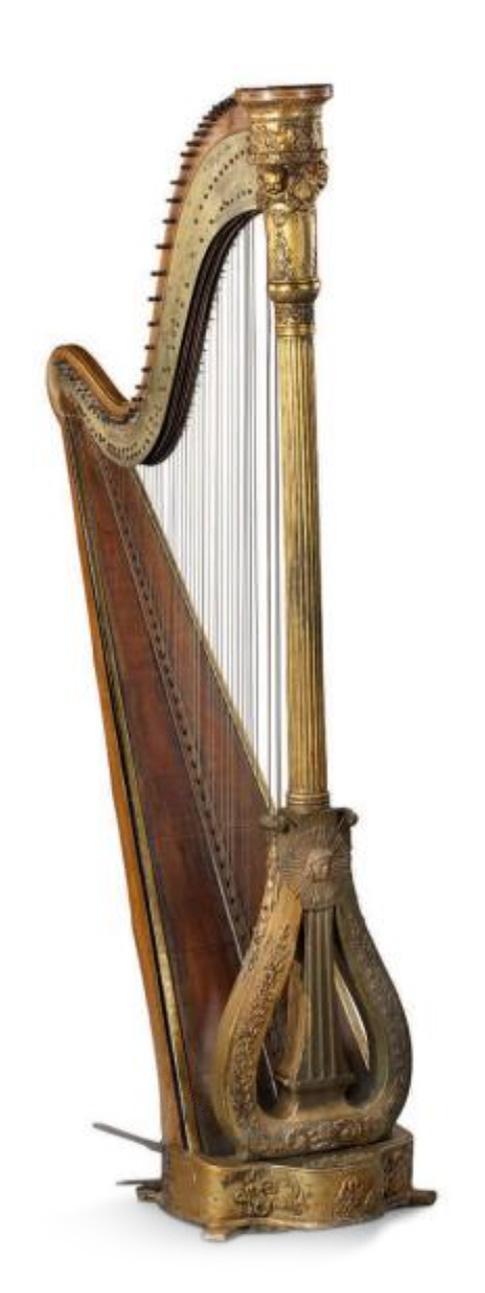 1275€ XIXesiècle. Harpe en boislaqué et doré, signée«J.Delveau's Patent», h.172cm.Neuilly-sur-Seine,17septembre 2017.AguttesOV