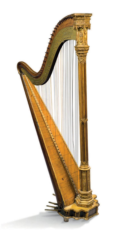 3250€ Érard à Paris, 1843,harpe à 46cordes, épicéa, noyeret palissandre, h.177,l.88cm.Neuilly-sur-Seine, 21juin 2018. AguttesOV