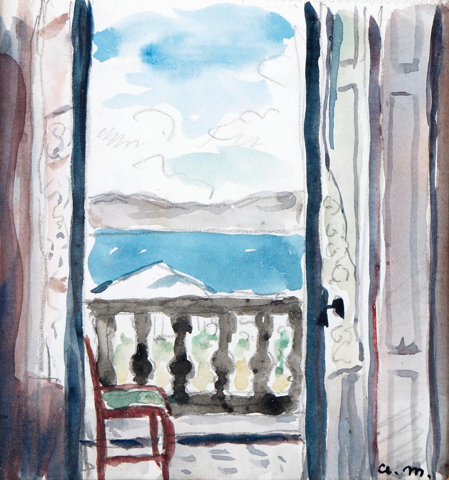 Albert Marquet, Algérie, le balcon, vers 1924, aquarelle et dessin sur papier, 11 x 11 cm. Adjugé: 18600 €
