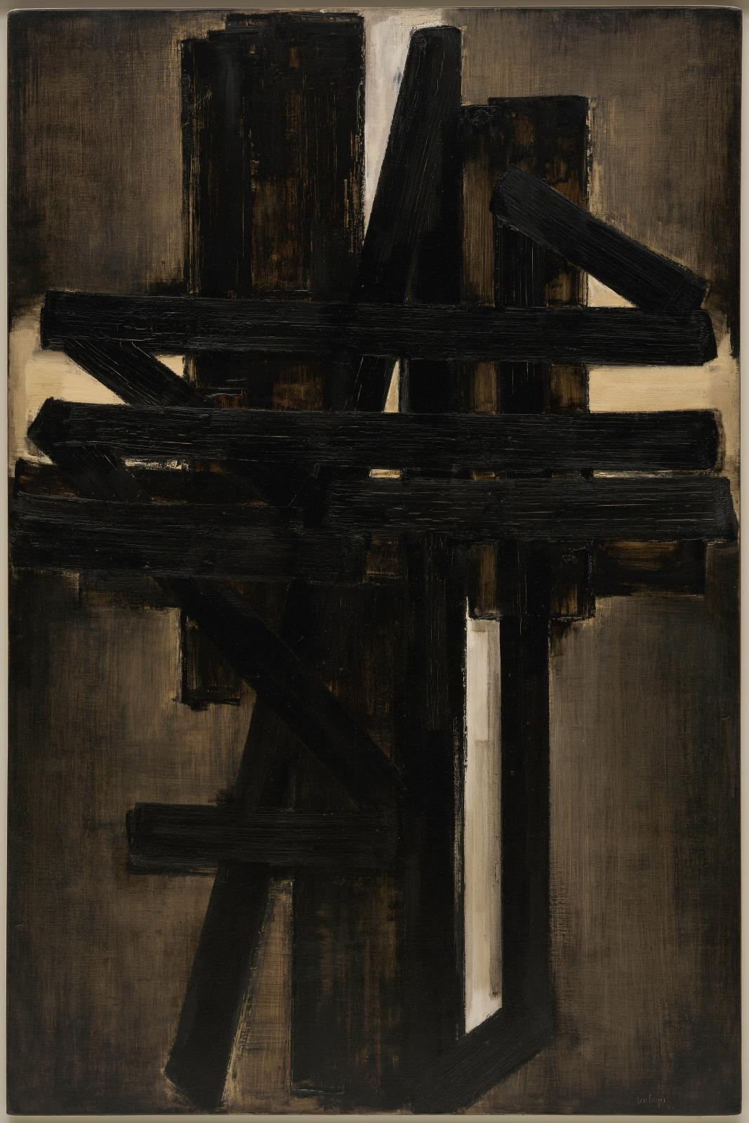 Pierre Soulages, Peinture, 195 x 130 cm, mai 1953, New York, Solomon R. Guggenheim Museum. © Archives Soulages © ADAGP, Paris 2019