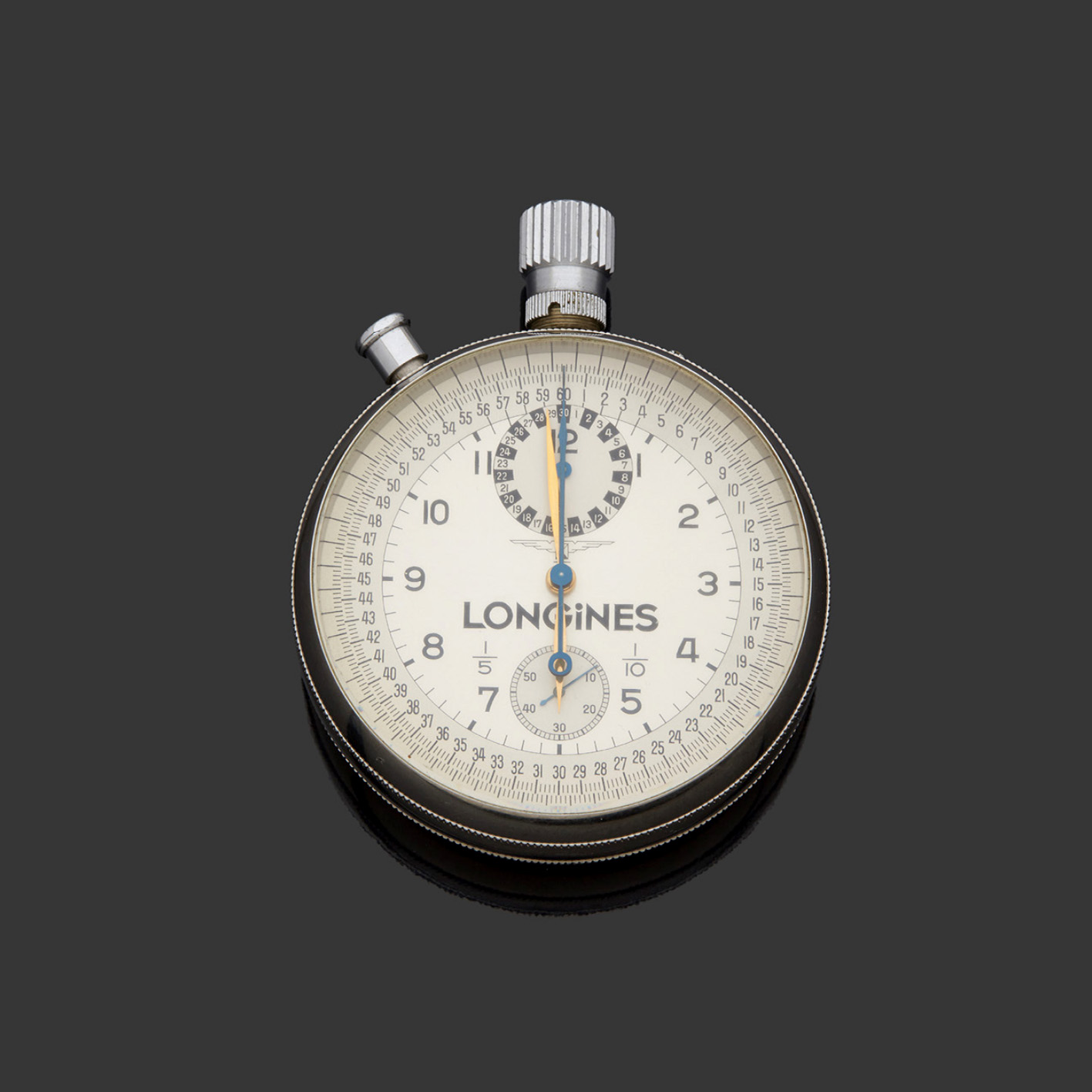 1216€ Longines, vers 1960,chronographe rattrapante de poche de «chronométreur officiel»pour les jeux Olympiques, acier, acier blanc et