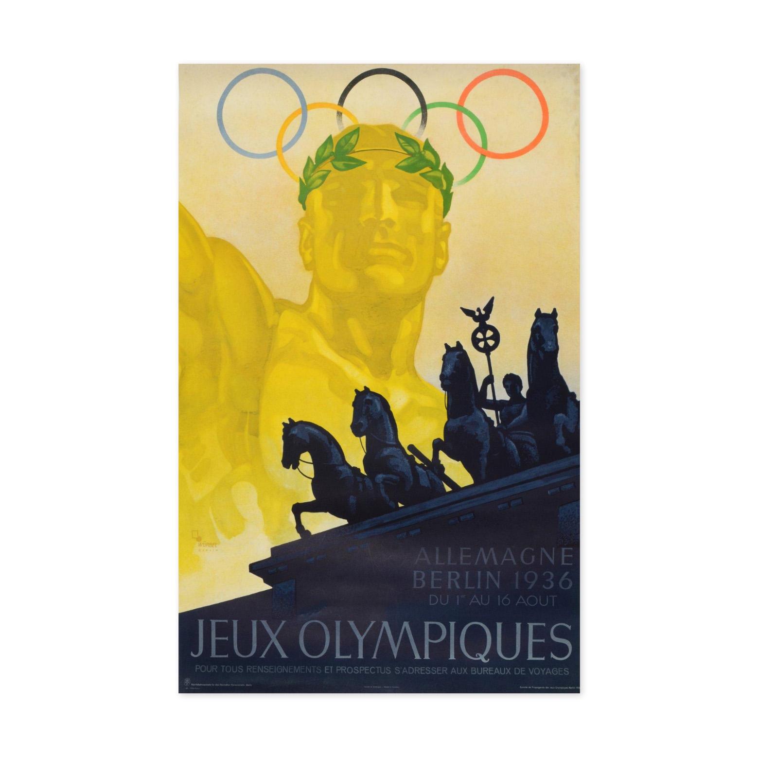 1750€ Franz Theodor Würbel, affiche officielle des jeux Olympiques d'été de Berlin en 1936, signée, version française, entoilée, 63x10