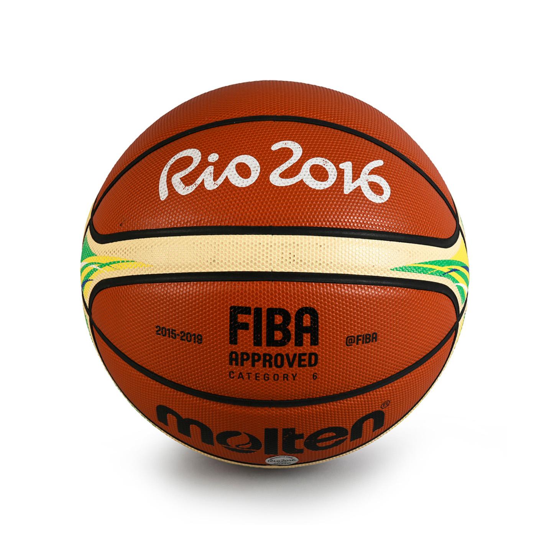 822€ Ballon officiel utilisélors de la demi-finale de basket entre la France et les États-Unisaux Jeux de Rio2016.Drouot, 24juin 2017.
