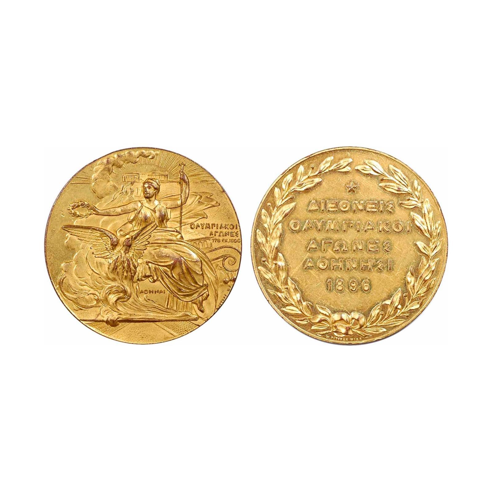 733€ Ateliers Pittner à Vienne, Autriche, médaille de participant aux Jeux d'Athènes de 1896, bronze doré, diam.49,7mm, poids58,06g.P