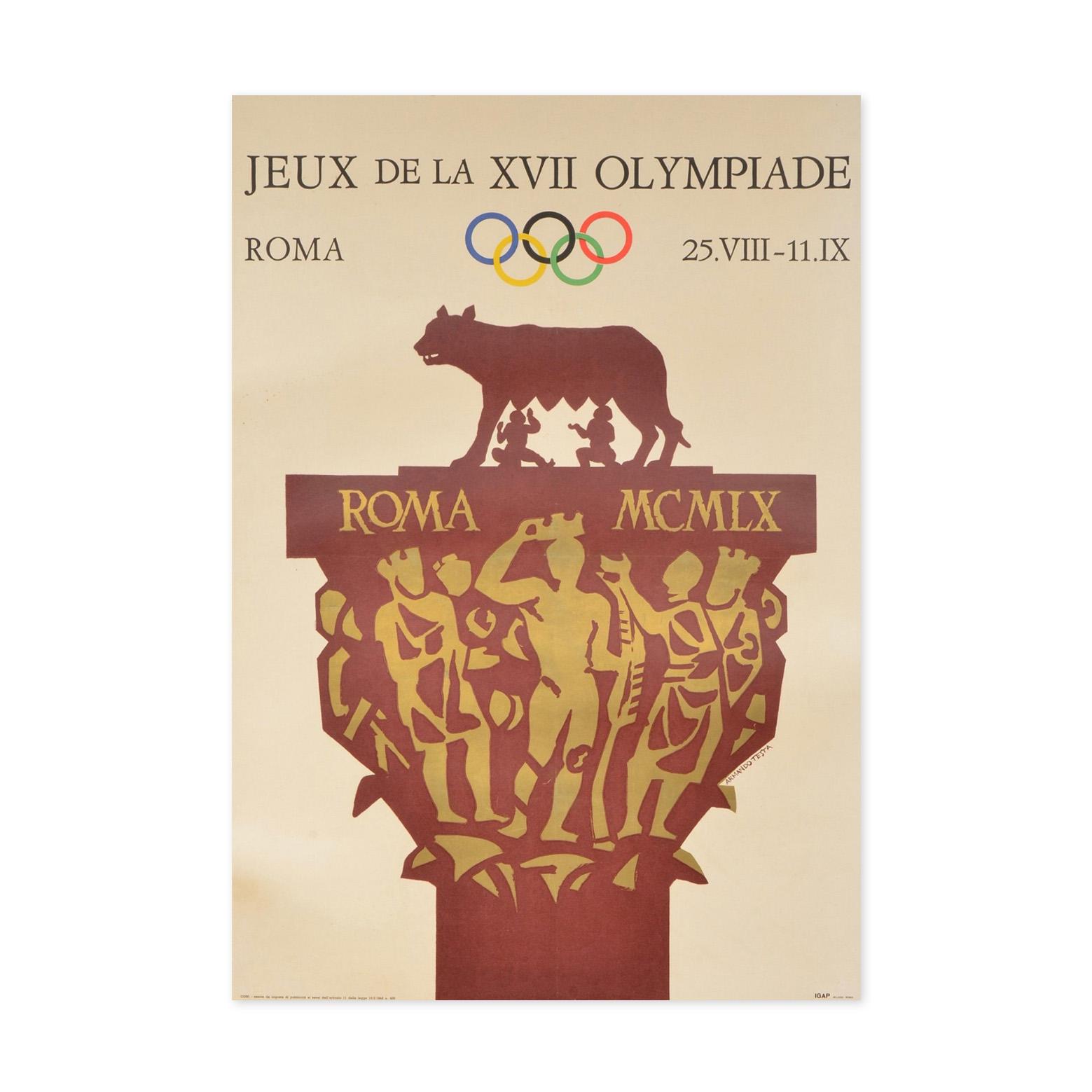 580€ Armando Testa, affiche officielledes jeux Olympiques d'été à Rome en 1960, version française,entoilée, 70,5x99,7cm.Drouot, 14d