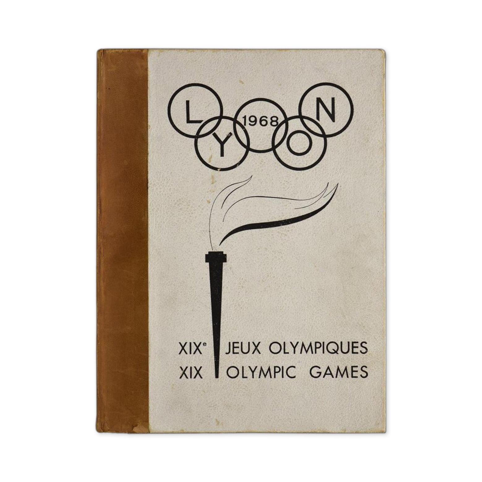 625€ Lyon 1968. XIXesJeux Olympiques, maquette pour la candidature de la ville, texte en français et en anglais.Lyon, 23mai 2019.Conan