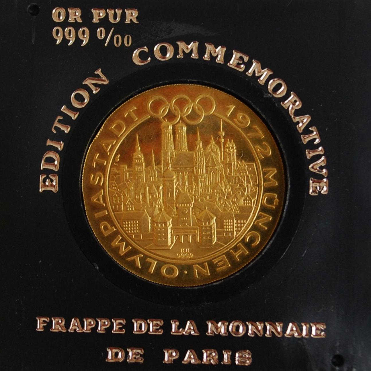 663€ Monnaie de Paris, pièce d'or,de l'édition commémorative des Jeuxde Munich de 1972, poids17,4g.Toulouse, 16mai 2019. ArtpaugéeO