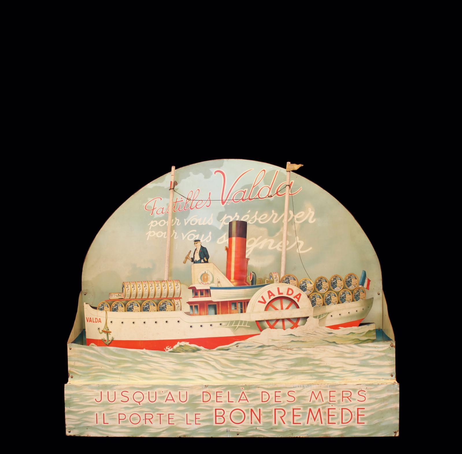 Courtin, Paris, France, vers 1930. Pastilles Valda pour vous préserver, pour vous soigner, présentoir automate de vitrine en métal plié pe