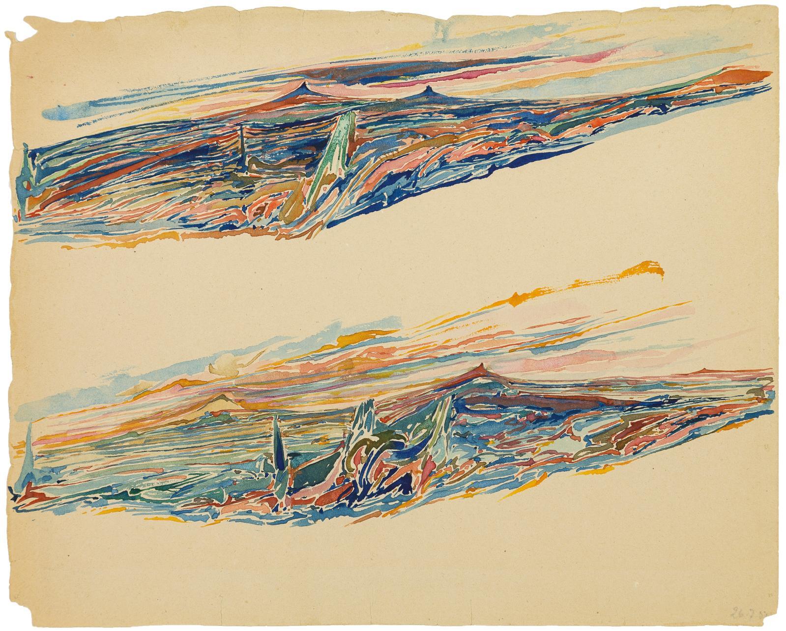Gilbert Legube, Sans titre,26juillet1950 (?), aquarelle sur papier, 23 x 28,4 cm, Centre d'étude de l'expression, MAHHSA, musée d'Art et d'Histoire