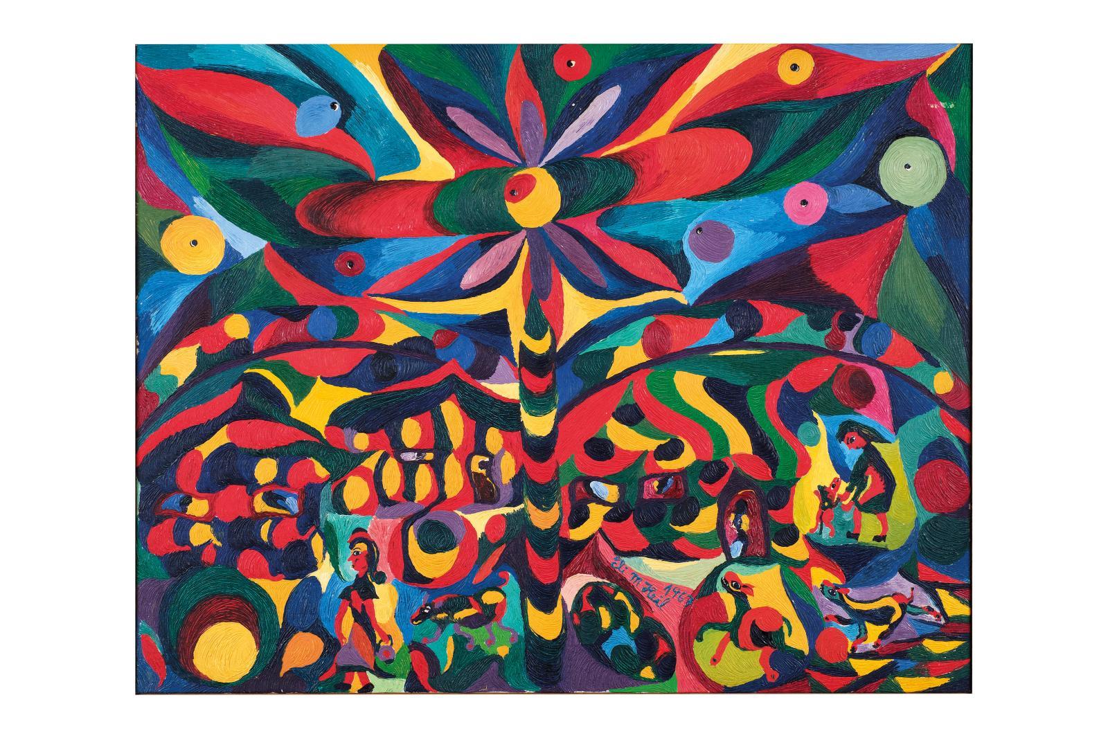 Eli Malvina Heil(1929-2017), Propriété explosive, 1967, huile et acrylique sur toile.  ©Alain Machelidon