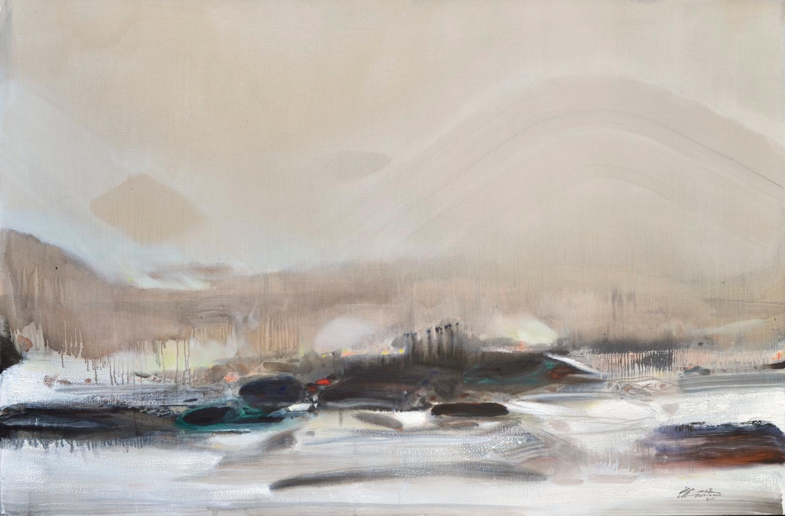 Chu Teh-chun(1920-2014), Après la coupe des adieux, le silence de la steppe, huile sur toile, 2001, 130x195cm. ©Adagp Paris 2020