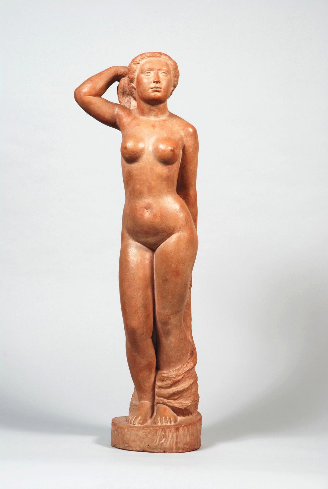 Aristide Maillol (1861-1944), Grande Baigneuse debout, ca. 1920, original proof in terracotta with a pinkish patina, signed on the base, 7