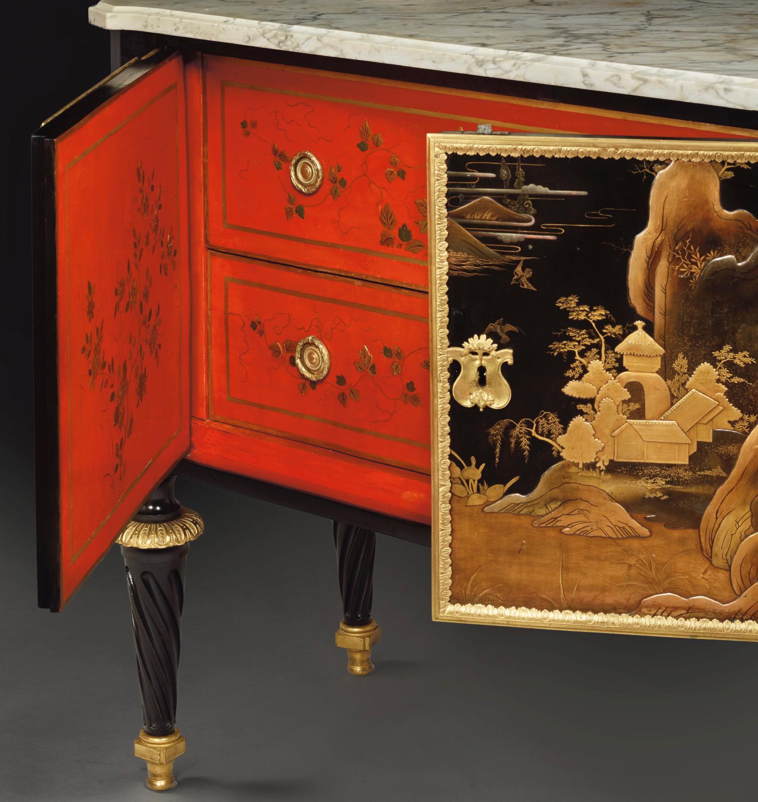 Commode LouisXVI en vernis Martin, estampillée Pierre Macret (1727-vers 1796), placage d'ébène, 87x114x50cm.