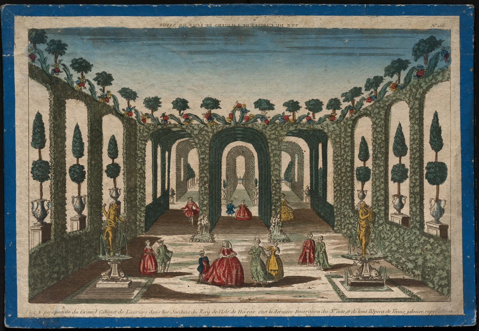 Anonyme, Vue perspective du Grand Cabinet de Lauriers dans les Jardins du Roy de l'Isle de Naxos, eau-forte coloriée, seconde moitié du XV