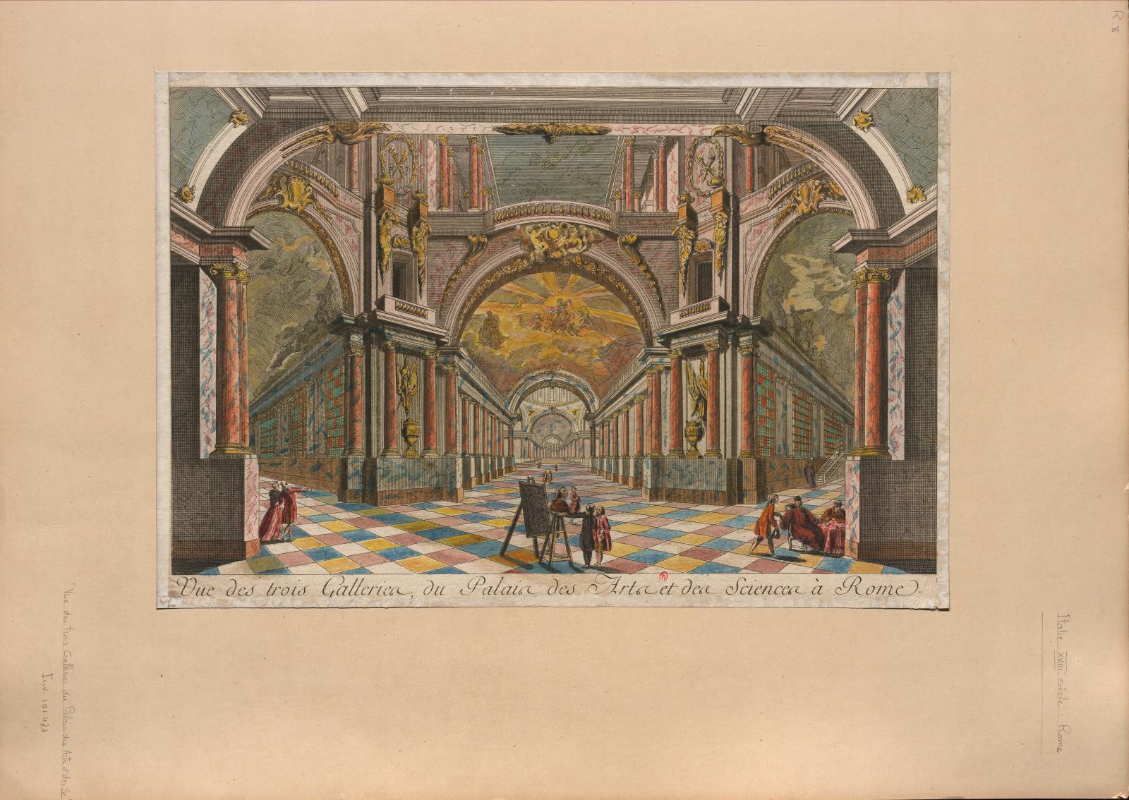 Anonyme, Vue des trois galeries du Palais des Arts et des Sciences à Rome, eau-forte coloriée, seconde moitié du XVIIIesiècle. © Biblioth