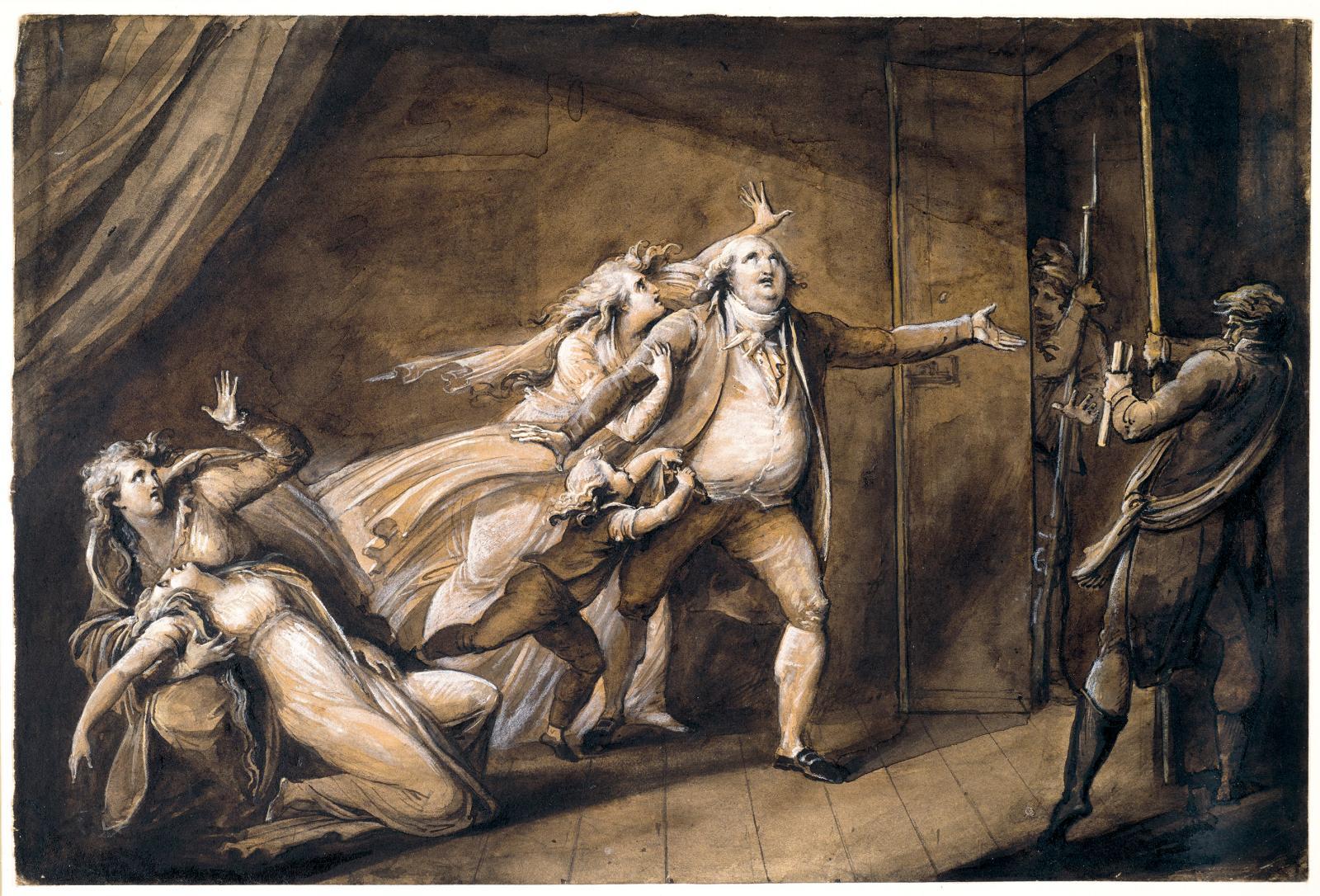 Les Adieux de LouisXVIà sa famille, vers 1815, crayon graphite, plume, encre et lavis d'encre au carbone, lavis d'encre métallogallique,