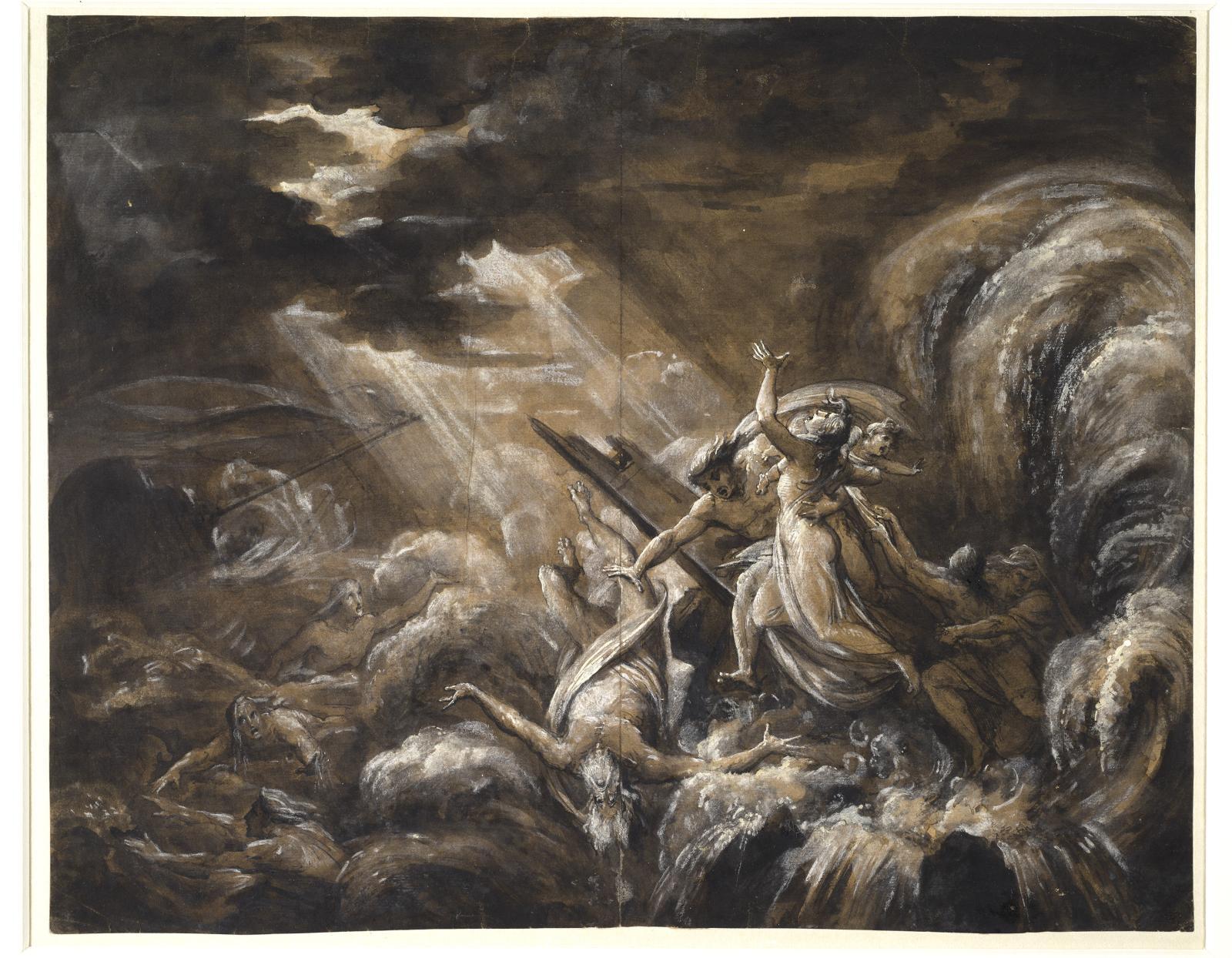Le Naufrage, 1815, crayon graphite, plume, encre et lavis d'encre métallogallique, lavis et rehauts de gouache blanche, rehauts de gomme a
