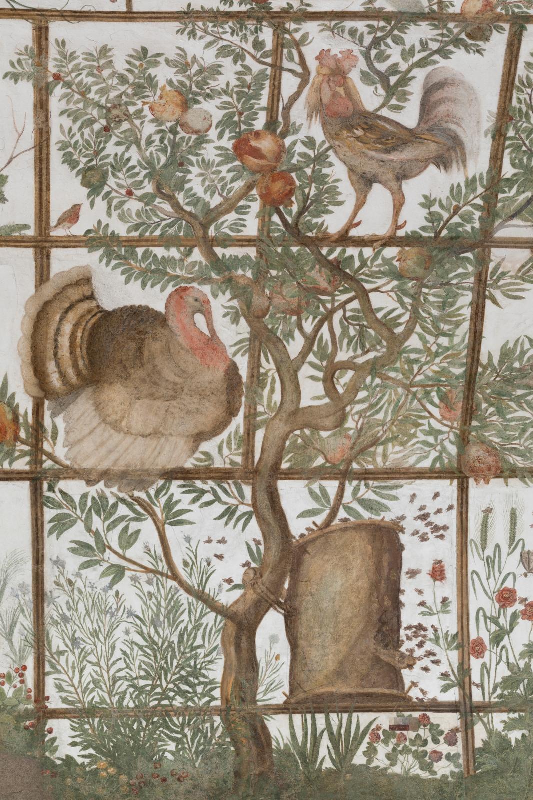 Pavillon de Ferdinand de Médicis, fresque de la volière de Jacopo Zucchi, 1576-1577, détail. © Sebastiano Luciano, Académie de France à Ro