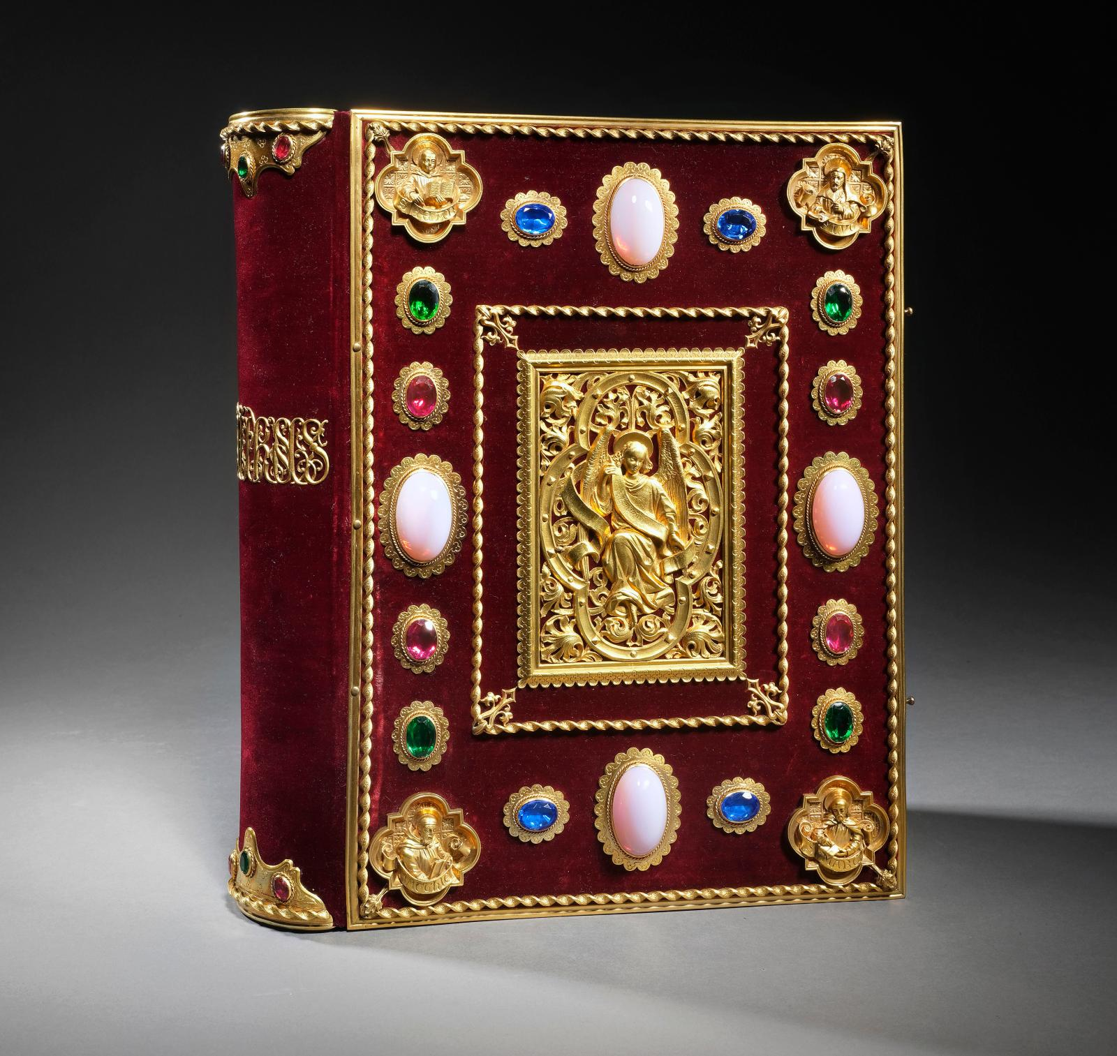 Hours of Queen Anne of Brittany. Paris, Curmer, (1859-1861), large in-4o volume; publisher's Gospel binding in garnet velvet with gilt met