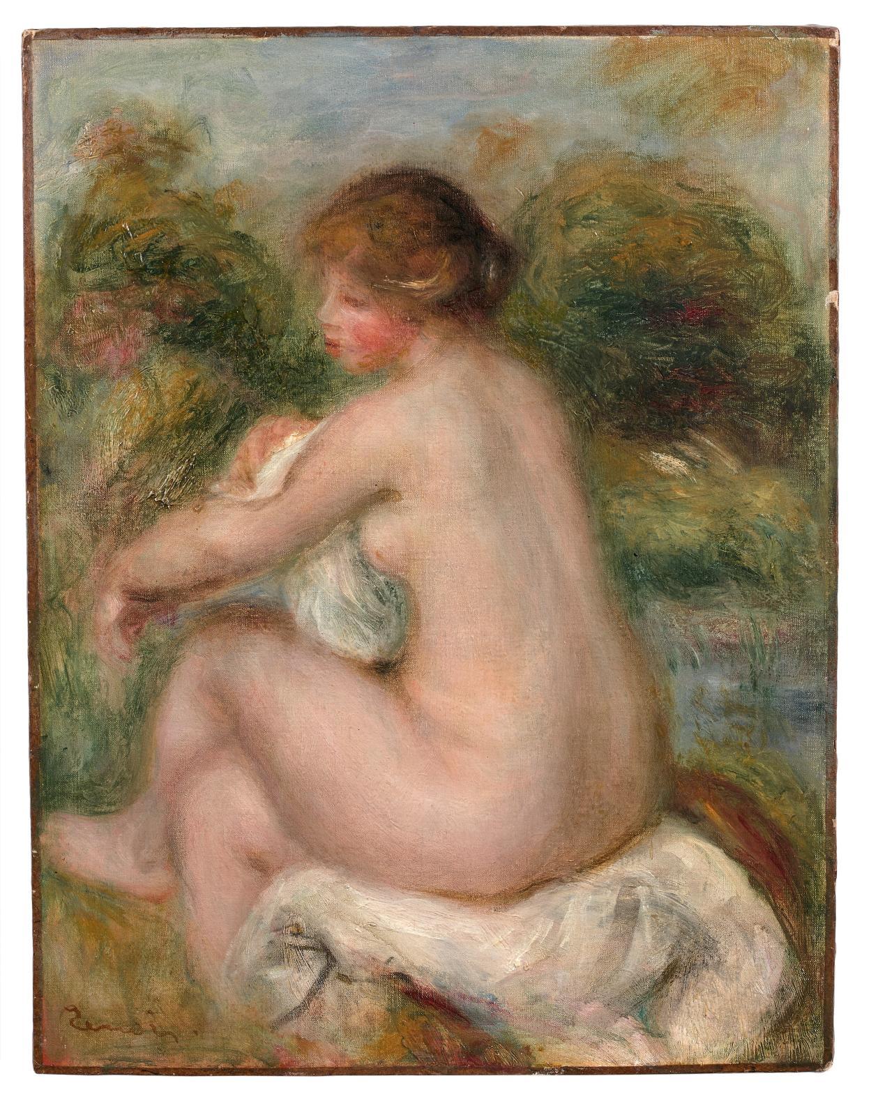 La palme de la victoire n'échappait pas à cette délicieuse Baigneuse assise(35,3x27,2cm), peinte vers 1905 par Pierre-Auguste Renoir(