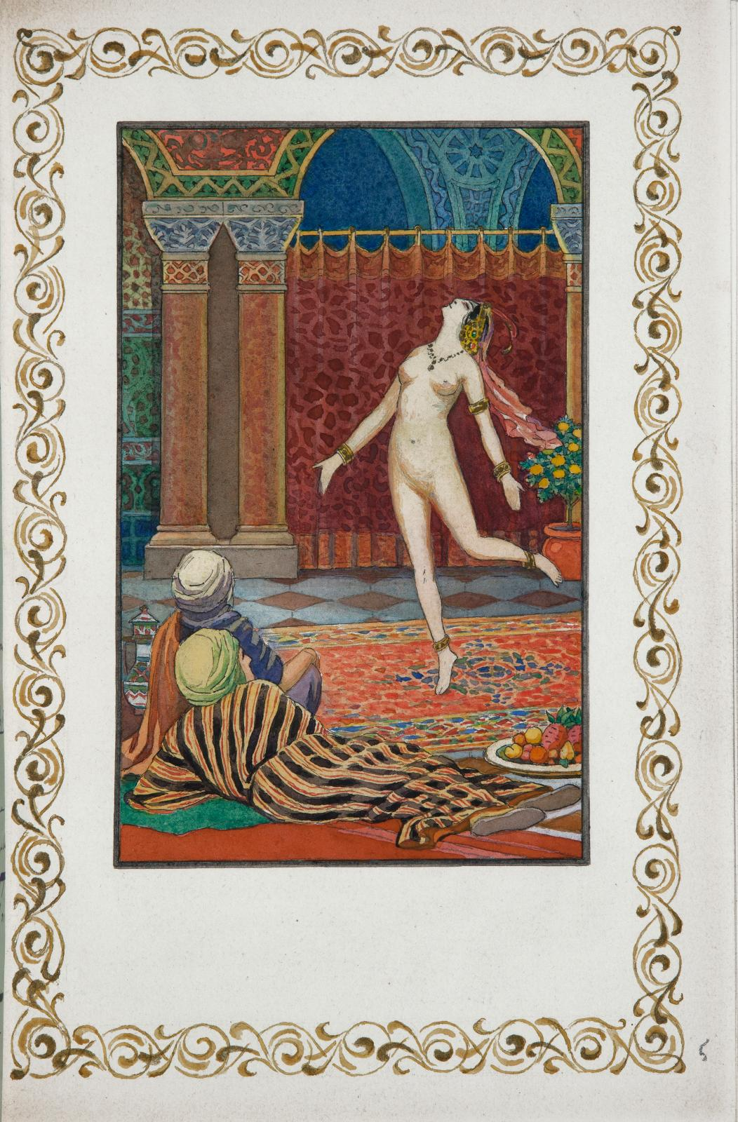 Franz Toussaint (1879-1955), Le Jardin des caresses (The garden of caresses), manuscript of 52 pages, illustrated with a title and nine wa