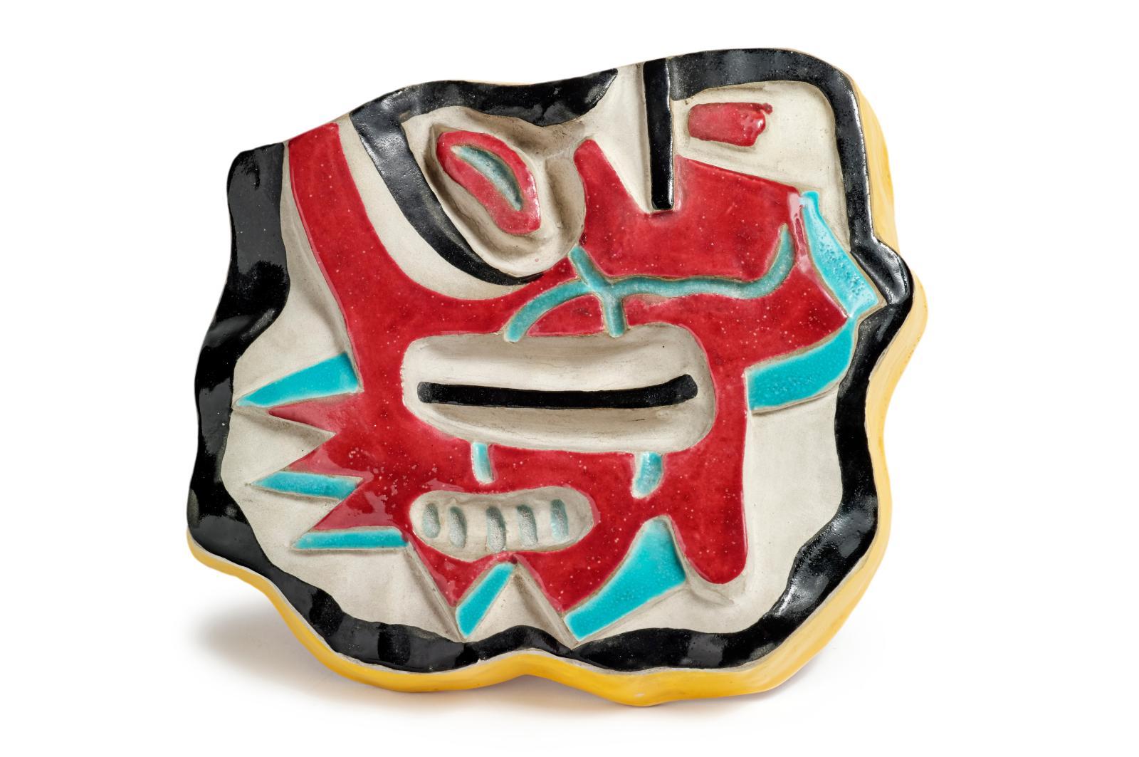 Fernand Léger (1881-1955), Composition en bleu et rouge, vers 1950, céramique glaçurée, cachet «F. Léger Biot» au dos, avec un envoi «À El