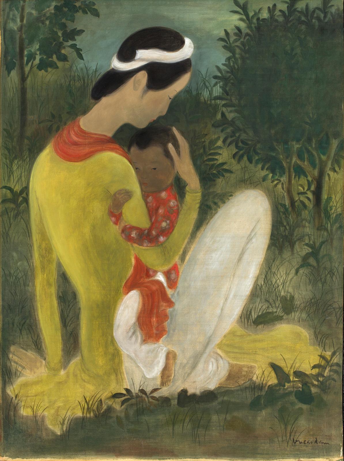 Réalisée à la fin des années 1930, cette grande Maternité sur soie (65x49,5cm) de l'un des ténors de la peinture vietnamienne, Vu Cao D