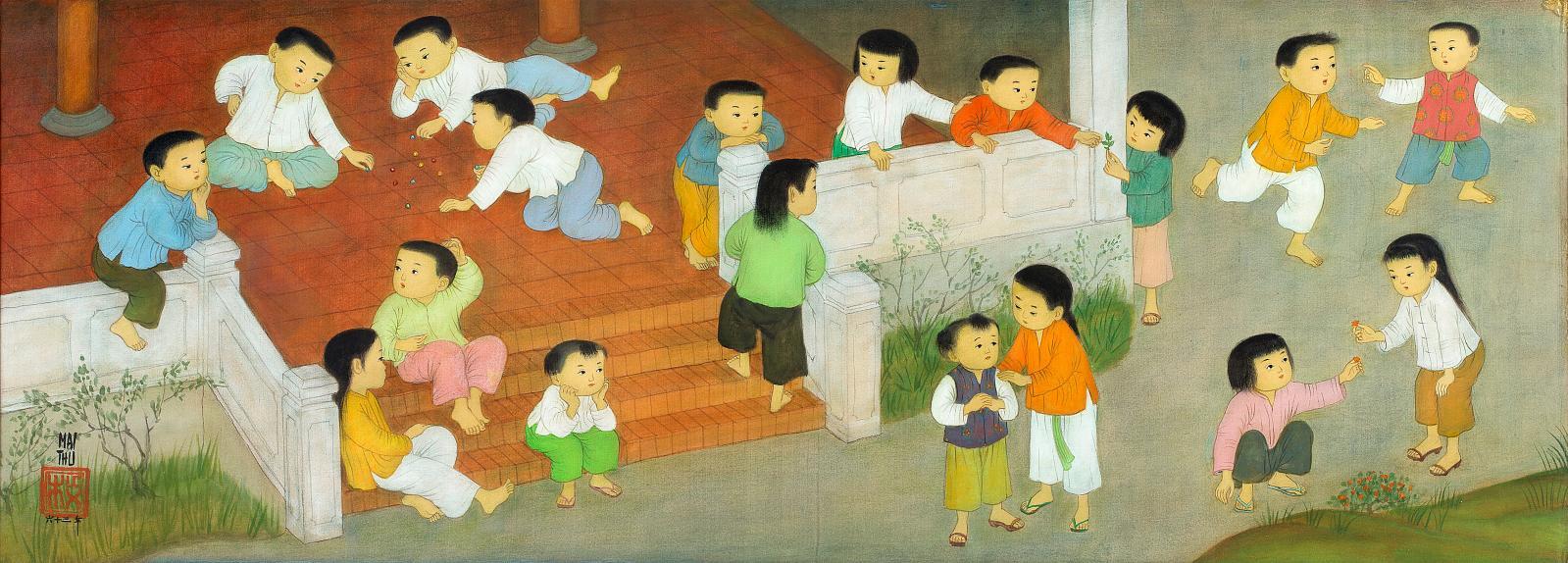Difficile de ne pas être charmé par ce panneau à l'encre et couleurs sur soie signé Mai Trung Thu (1906-1980), daté 1963 (ci-dessous). Int