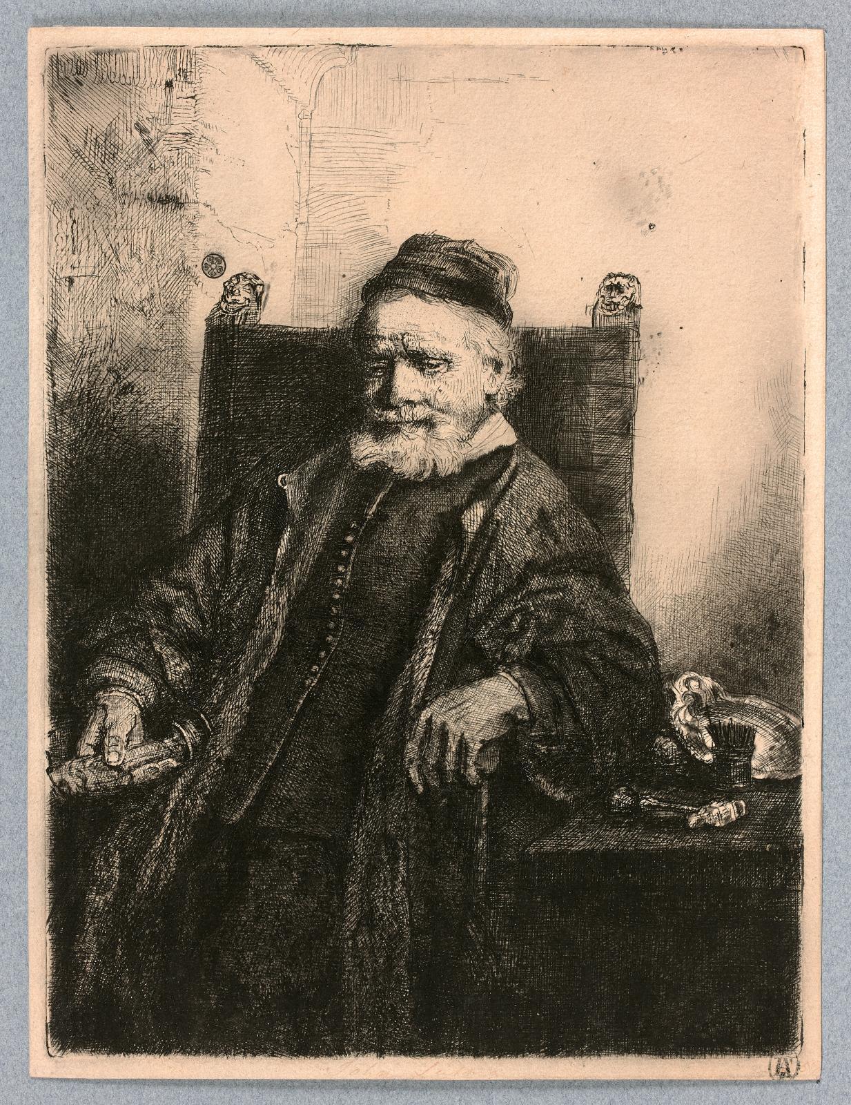 Rembrandt Van Rijn (1606-1669), Jan Lutma, orfèvre, 1656, eau-forteet pointe-sèche, épreuve du premier état (sur cinq), 19,8x15cm. Est