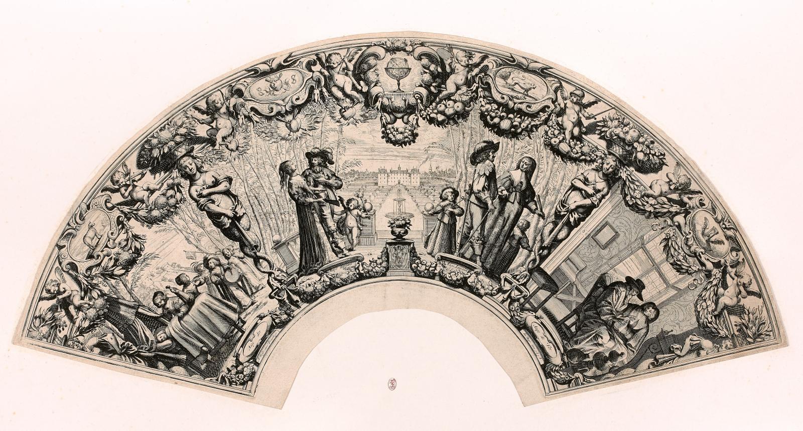 Abraham Bosse (1602-1676), Les Quatre Âges de l'homme,1638, in-folio en forme d'éventail,eau-forte et burin. Estimation: 3500€