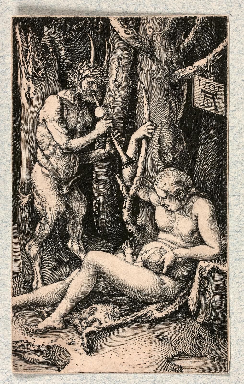 Albrecht Dürer (1471-1528), La Famille du satyre,1505, burin, 11,6x7cm. Estimation: 35000€