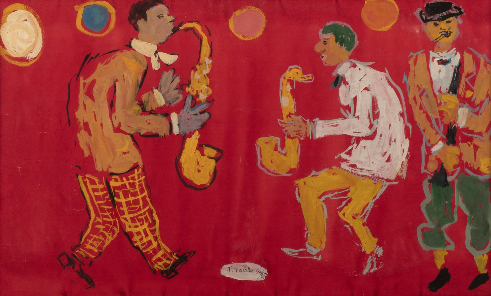 Fikret Moualla (1903-1967), Les Musiciens, 1962-1963, gouache sur papier, 33,5x55cm. Estimation: 2500/3000€