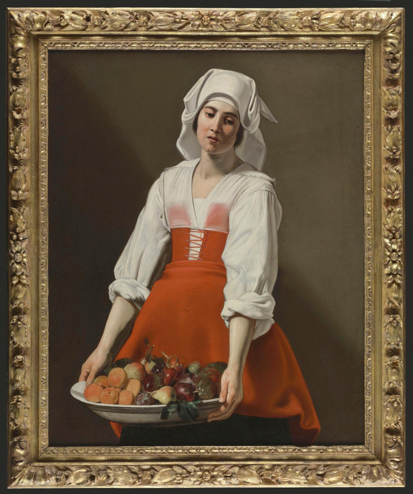 Nicolas Tournier(1590-1639), Paysanne à la coupe de fruits, vers 1630, huile sur toile, 91x73,5cm. ©Fondation Bemberg