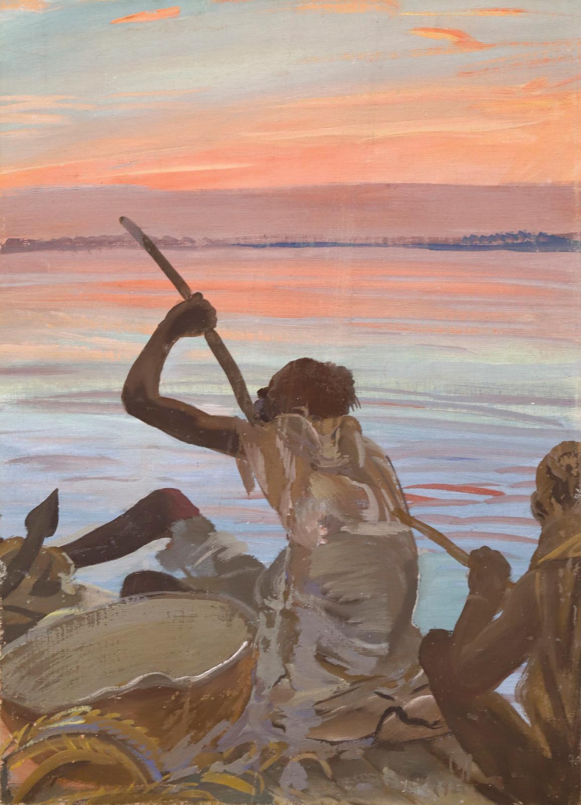 Alexandre Iacovleff (1887-1938), La Pirogue, 1927, huile sur toile marouflée sur carton, 64x46cm. Estimation: 4000/6000€