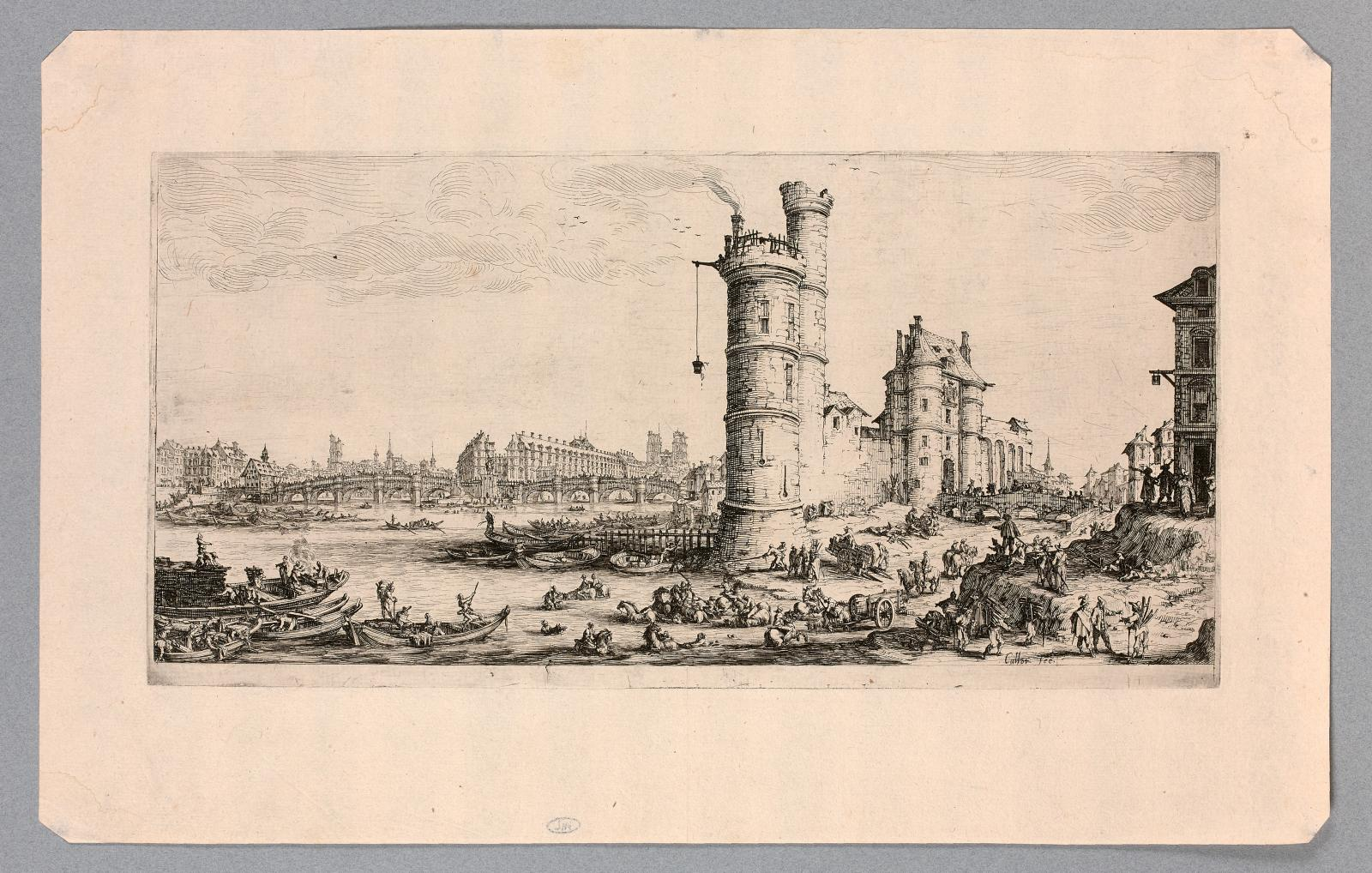 Jacques Callot (1592-1635), Two Grand Views of Paris: View of the Louvre - View of Pont-Neuf (reproduced, two matching etchings, 2nd state