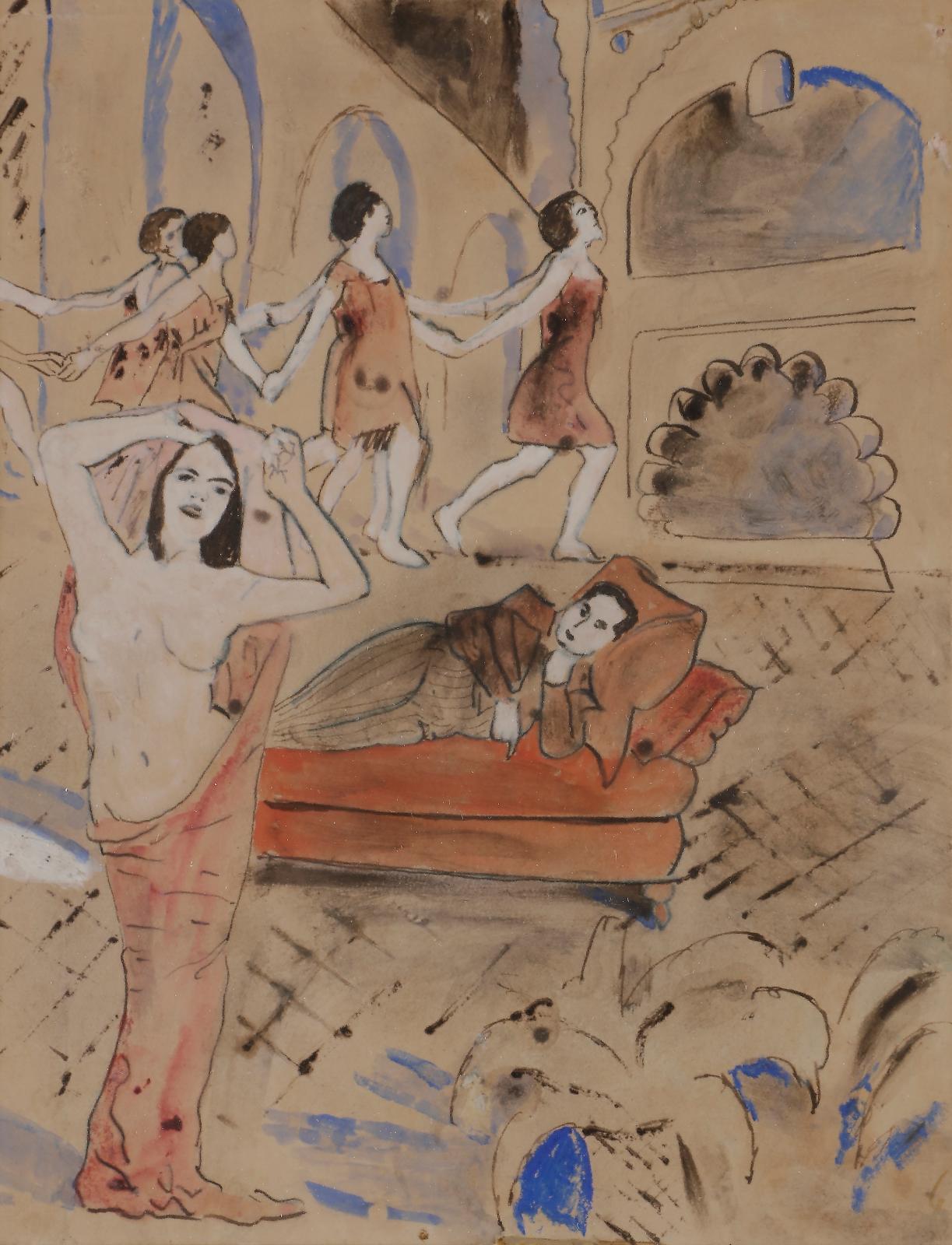 Apollinaire sur un divan, encre, aquarelle et rehauts de gouache, 20x15,5cm. Estimation: 1000/1500€