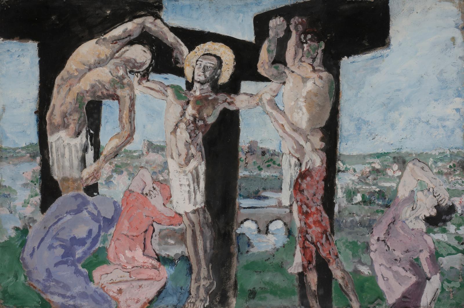 La Crucifixion, gouache, 36,5x54,5cm. Estimation: 3000/5000€