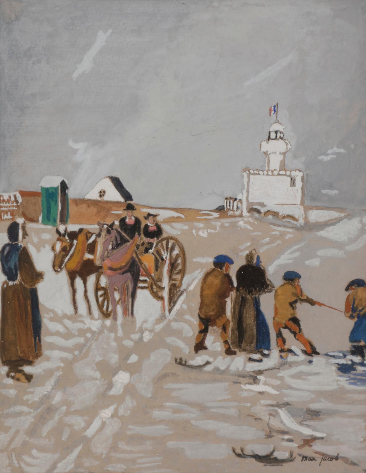 Max Jacob (1876-1944), La Récolte du varech, gouache, 18,5x14,5cm. Estimation: 800/1000€