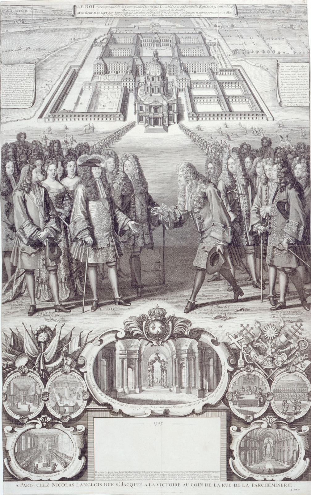 Anonyme, Almanach pour l'année 1707: le roi visite l'hôtel des Invalides, 28septembre 1706, musée Carnavalet, Histoire de Paris. © Paris