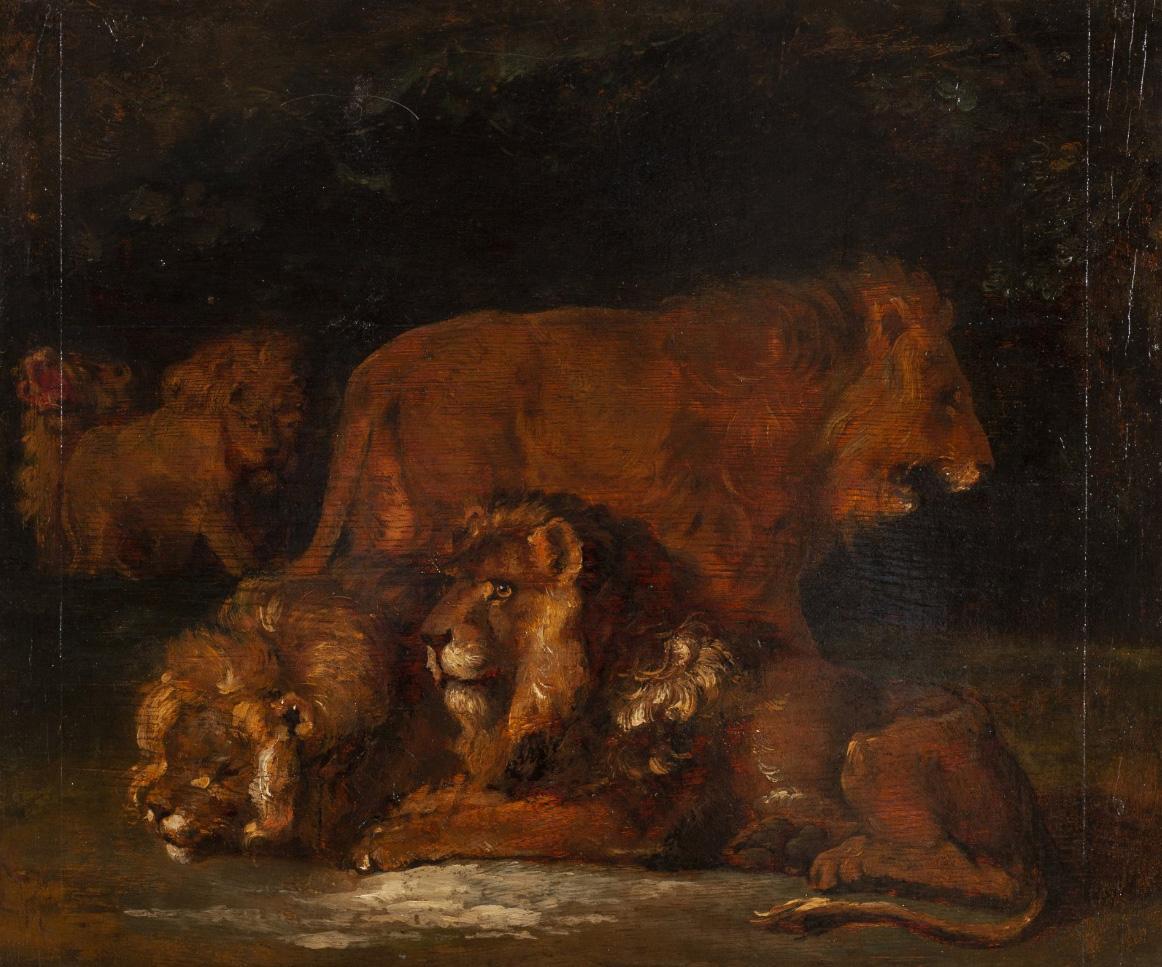 Théodore Géricault (1791-1824), Group of Lions, oil on panel, 48 x 58 cm. Drouot, 4 December 2019. Paris Enchères - Collin du BocageResult
