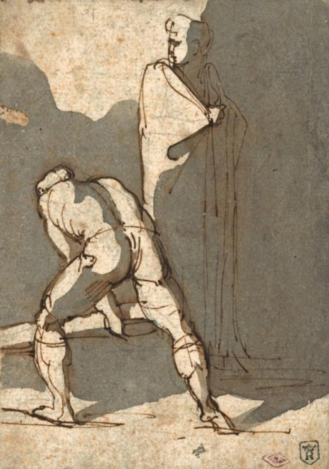 Théodore Géricault (1791-1824), A Man Lifting a Beam While a Woman Seems to Be on the Lookout, pen and grey wash, 16 x 11,5 cm. Drouot, 17
