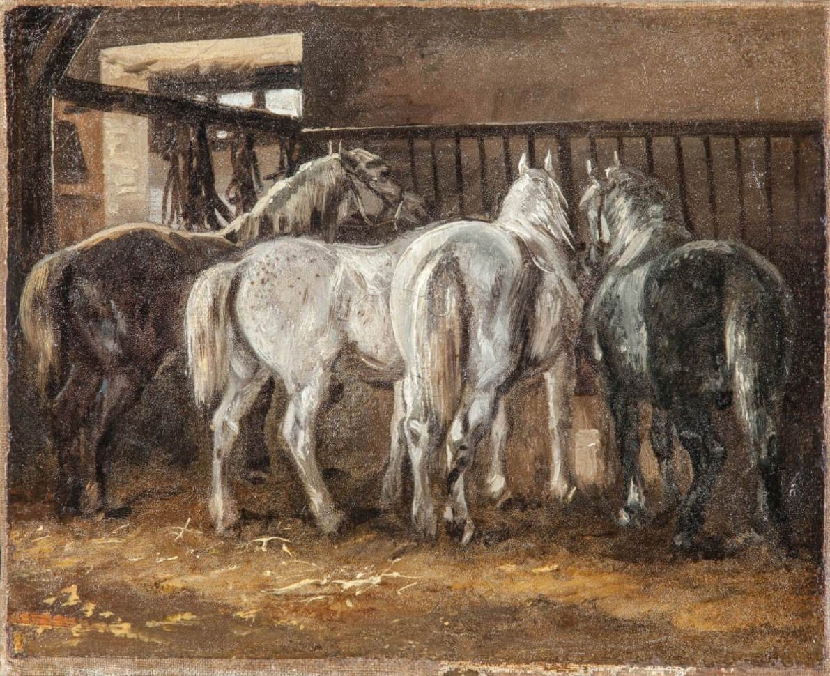 Théodore Géricault (1791-1824), Four Horses in the Stable, around 1821-1823, oil on paper glued on canvas, 22 x 28 cm. Montbazon, 12 June