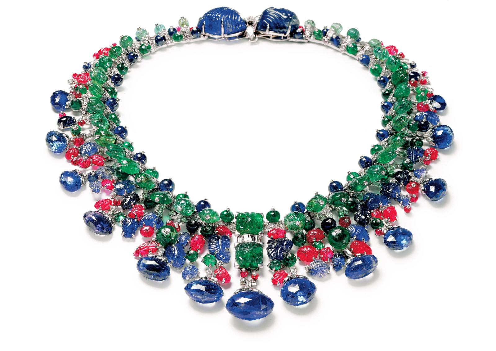 """Cartier Paris, """"Tutti Frutti"""" necklace belonging to Daisy Fellowes, commissioned in 1936, and transformed in 1963.© Photo Nick Welsh, Cart"""