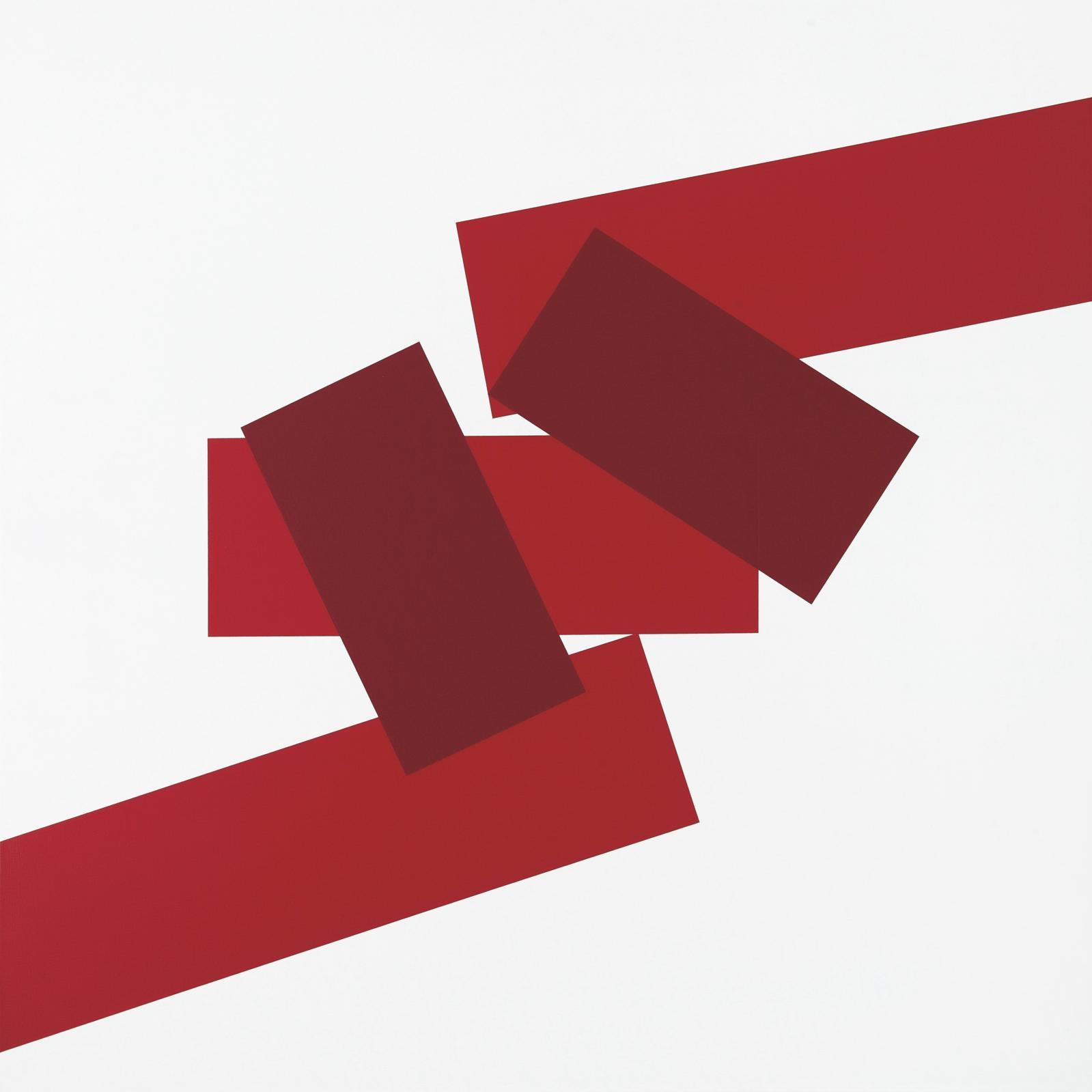 Véra Molnar, To 5 rectangles 2 reds, 2007, peinture sur toile, 100 x 100 cm.© Bertrand Hugues, courtesy Galerie Berthet-Aittouarès
