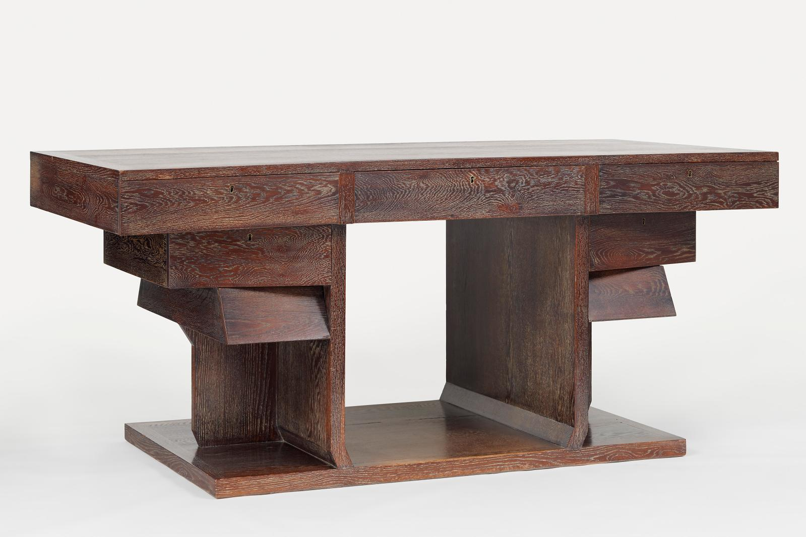 Limewashed oak desk with a thick top and asymmetrically placed drawers, c. 1927.Männedorf-Zurich, collection Bischofberger.