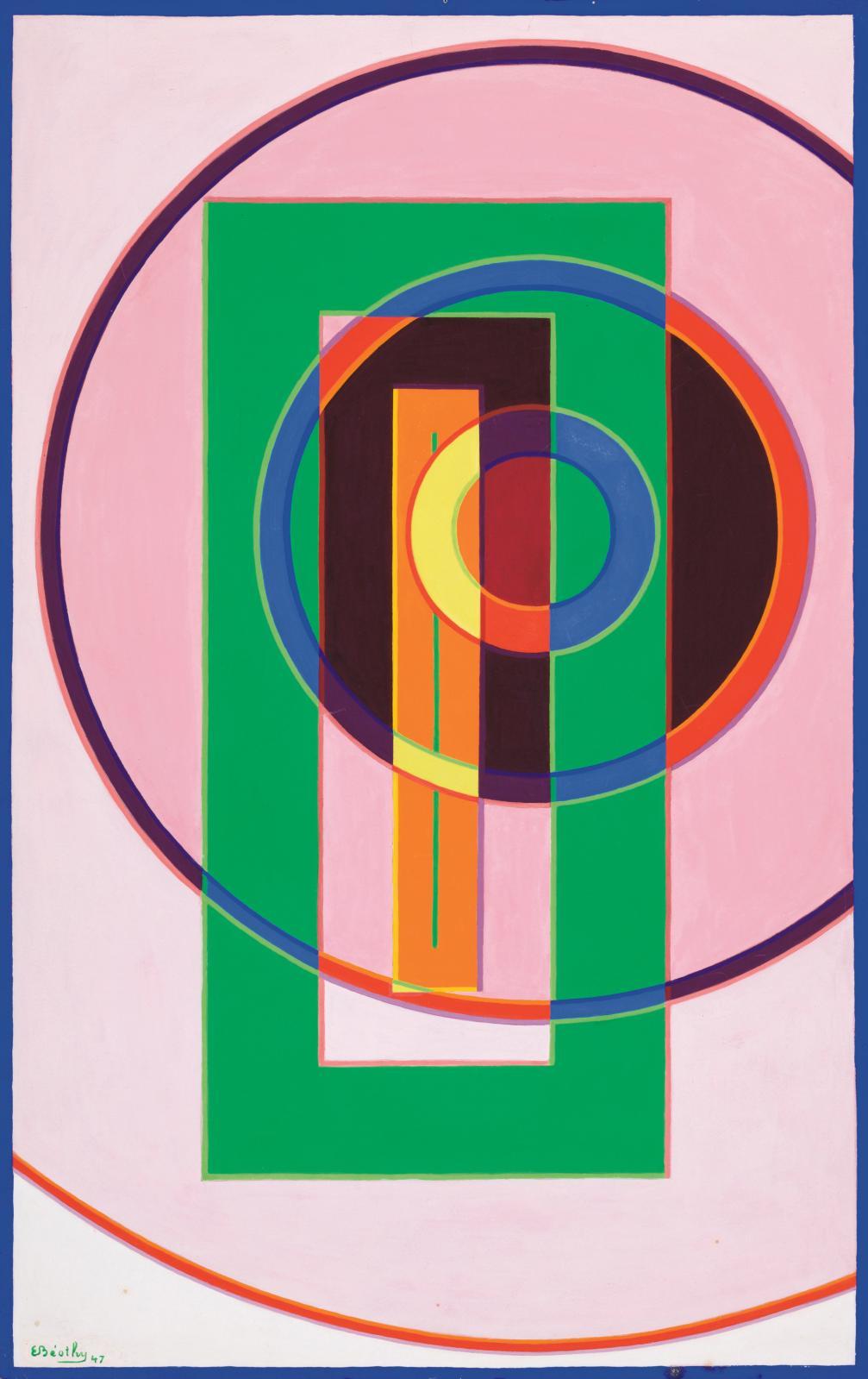 Étienne Béothy (1897-1961), Composition, 1947, gouache sur papier. Présenté par la galerieLe Minotaure durant le Paris Gallery Weekend. ©