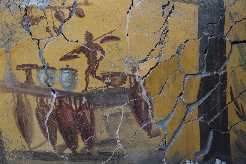 Fresque avec amphores du comptoir d'un thermopole, Ier siècle après J.-C., Pompéi, intersection de la rue des Noces d'Argent et de la rue