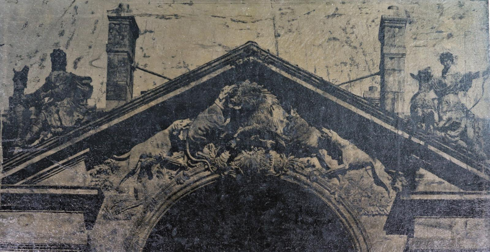 Auteur non identifié, Chasse au sanglier sur fronton, détail, panotype, 34,5x27cm. ©Christophe Dubois-Rubio